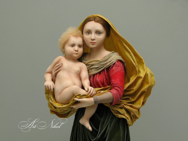 Doll Madonna with a newborn